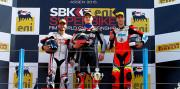 Il podio della Coppa FIM Superstock 1000 ad Assen