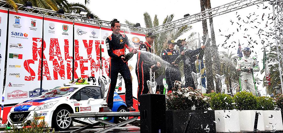 Il podio del Rally di Sanremo con Andreucci, Paddon e Scandola