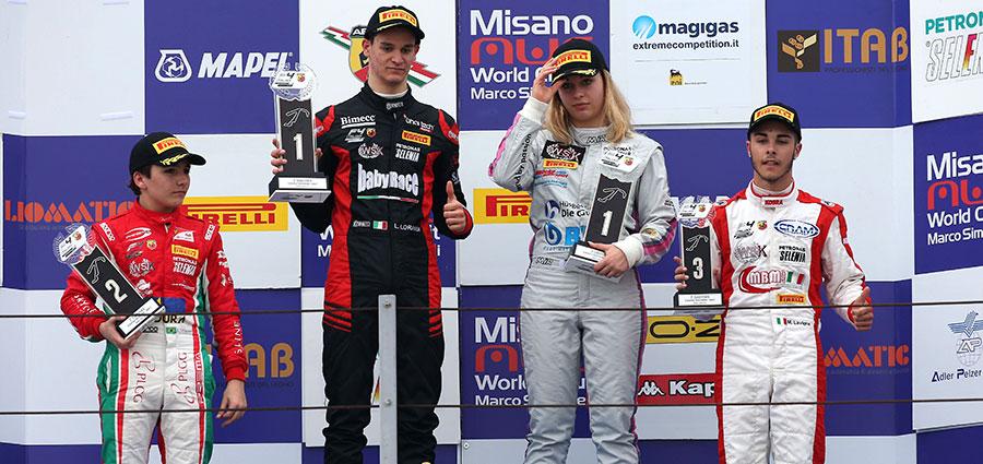 Il podio Rookie di gara 2 con Leonardo Lorandi, Enzo Fittipaldi, Mariano Lavigna e Sophia Floersch, unica donna in gara
