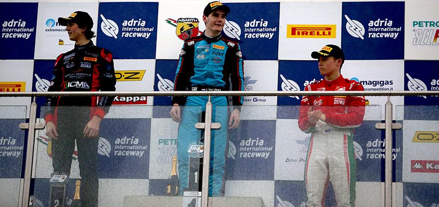 Il podio di gara 1 dell' Italian F4 Championship ad Adria