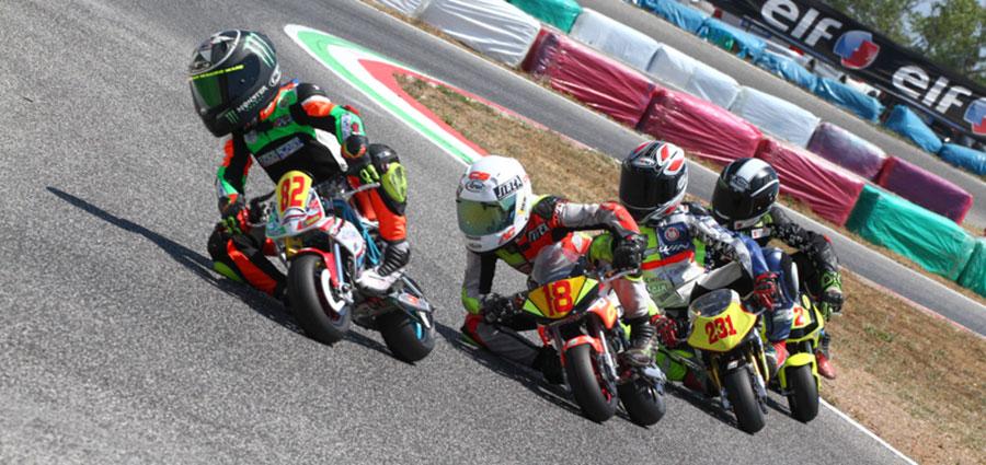 Una delle gare del Campionato Italiano Minimoto al Circuito di Latina