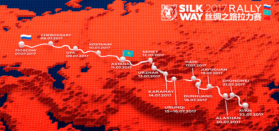 Tre paesi attraversati (Russia, Kazakhstan e Cina) in tredici tappe e quasi diecimila km totali di percorso di cui 4.094 di prove cronometrate, questa è l'essenza del Silk Way Rally