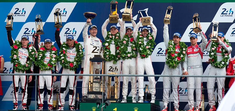 Il podio assoluto della 24 Heures du Mans riservato alla Porsche e alle due Oreca 07 LMP2