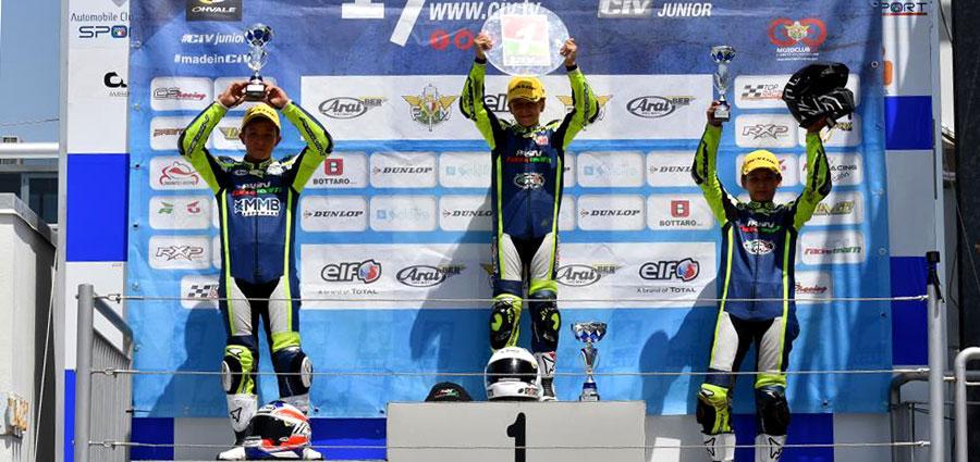 Il podio della MiniGP 50cc con il neo Campione Italiano Andrea Natali