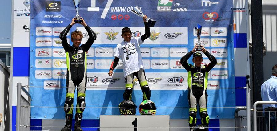 Alloro tricolore del Campionato Italiano OHVALE GP-0 con Alessandro Zanca in trionfo nella classe 160