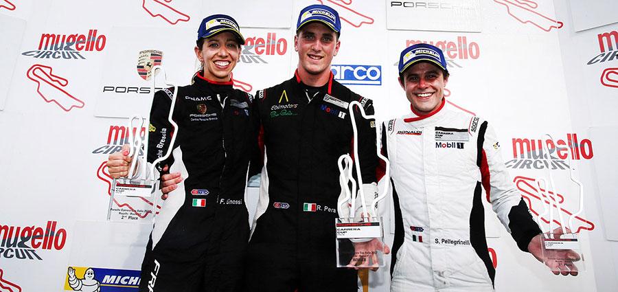 Il podio di gara 1 con Linossi, Pera e Pellegrinelli