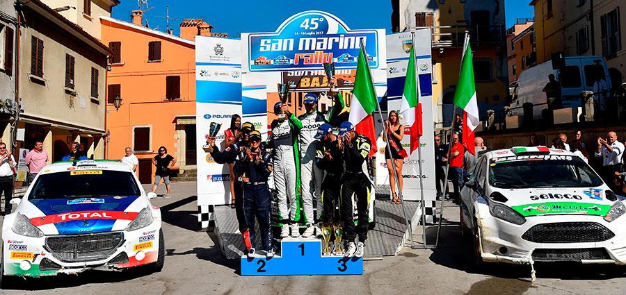 Il podio finale del Rally San Marino