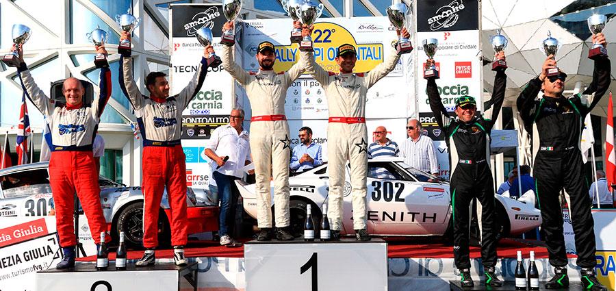 Il podio del 2° Raggruppamento del Campionato Italiano Rally Autostoriche