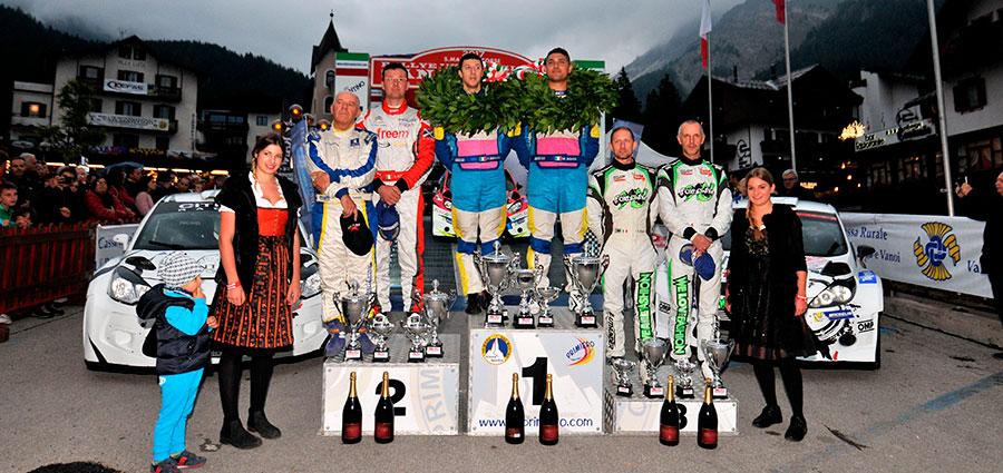 Il podio del Rally San Martino di Castrozza, penultima prova del Campionato Italiano WRC