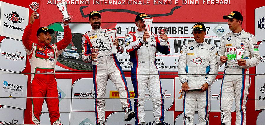 Il podio PRO di gara 2 a Imola del Campionato Italiano GT