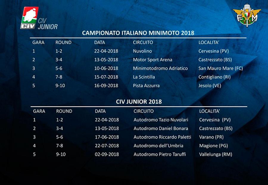 Ecco il Calendario con tutte le date del Campionato Italiano Minimoto e CIV Junior