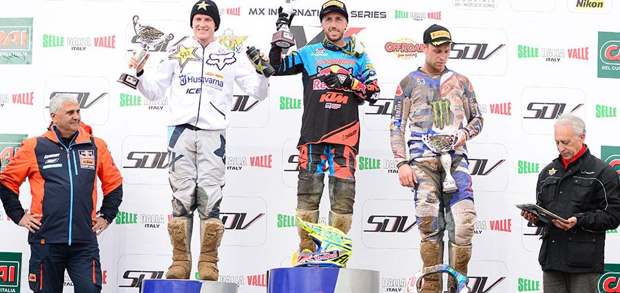 Il podio della MX1 degli Internazionali d'Italia MX