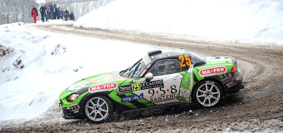 Sfortuna per Andrea Nucita che con l'Abarth 124 Rally è costretto al ritiro dopo un ottimo avvio (Foto Stefano Romeo)