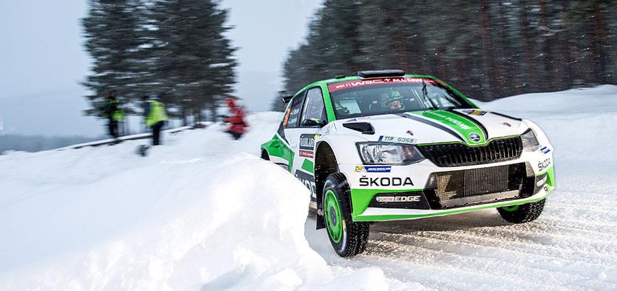 Pontus Tidemand  con la  Skoda Fabia R5  deve accontentarsi del secondo posto nella WRC2