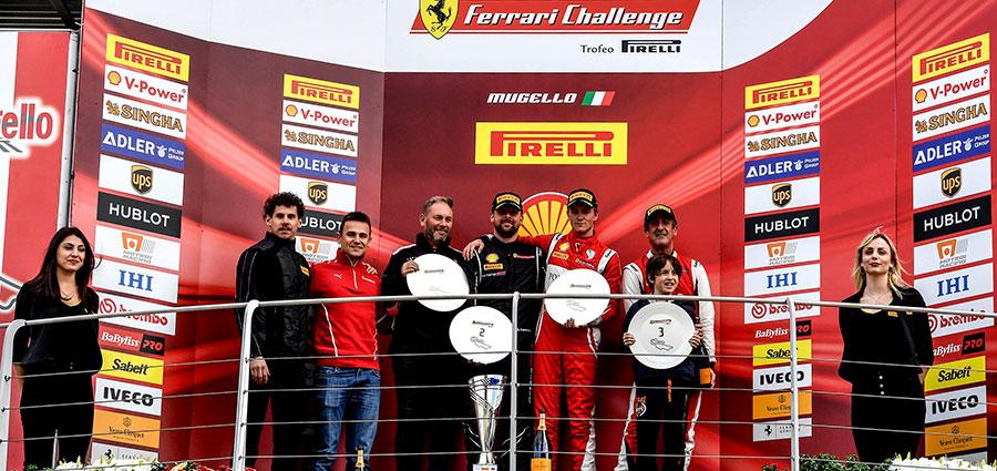 Il podio di gara 1 del Trofeo Pirelli