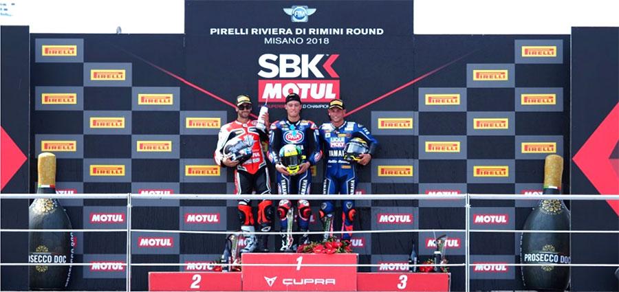 Il podio della WSSP con Federico Caricasulo, Raffaele De Rosa e Sandro Cortese