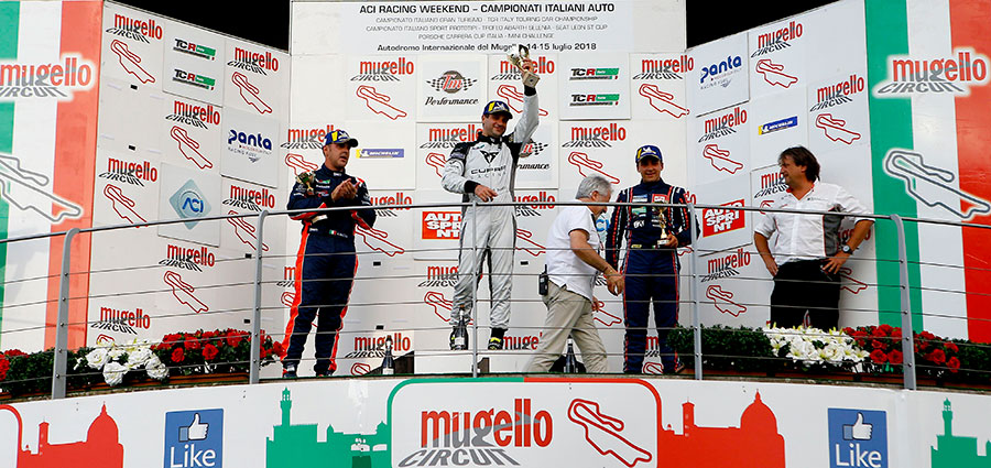 Podio di gara 1 del TCR Italy Touring Car Championship