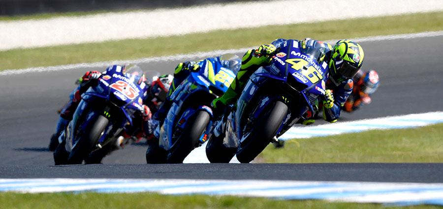 Valentino Rossi sfiora il podio arrivando dietro il compagno di squadra Maverick Vinales