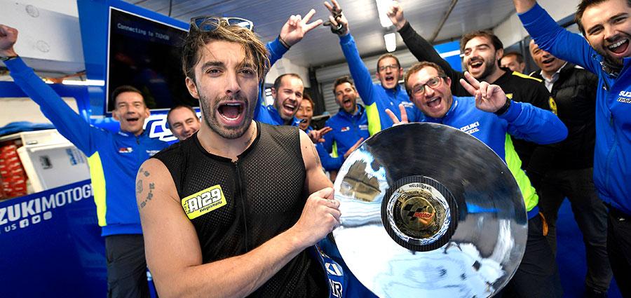 Andrea Iannone urla tutta la sua felicità per una delle sue migliori performance stagionali