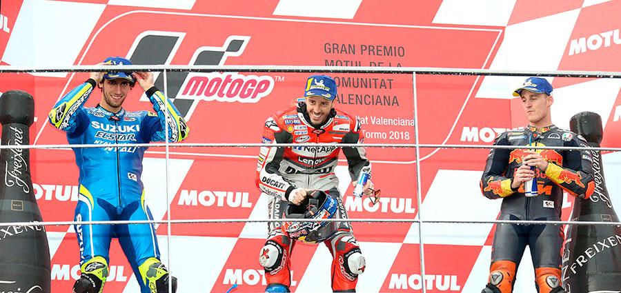 Il podio dell'ultima gara MotoGP in programma a Valencia (Foto Cavalleri-Betti)