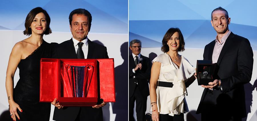 A sinistra, Valentina Albanese premia Vincenzo Montalbano vincitore della Silver Cup. A destra Maria Letizia Rapetti (Chopard) premia Bashar Mardini vincitore della Michelin Cup della Porsche Carrera Cup Italia
