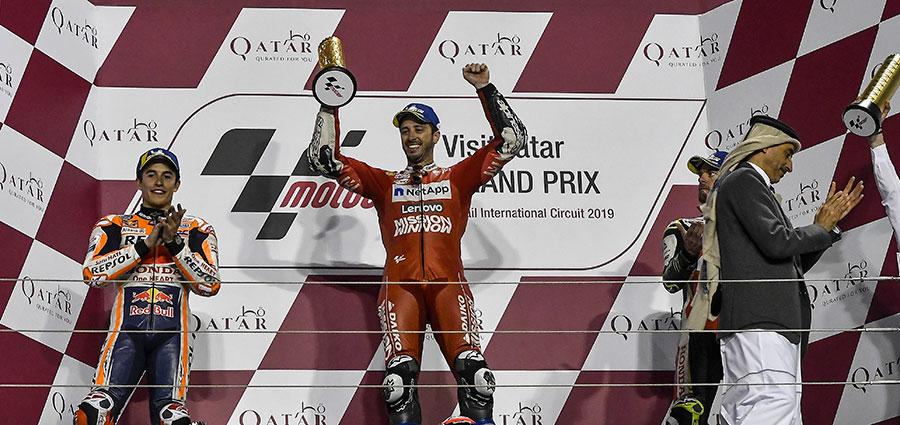 Il podio del GP del Qatar, prima prova della MotoGP 2019