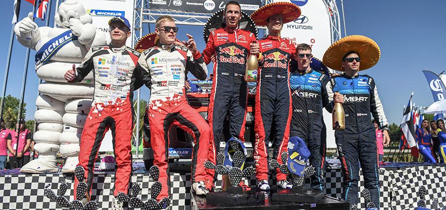 Ecco il podio del Rally del Messico con i protagonisti della terza prova del WRC