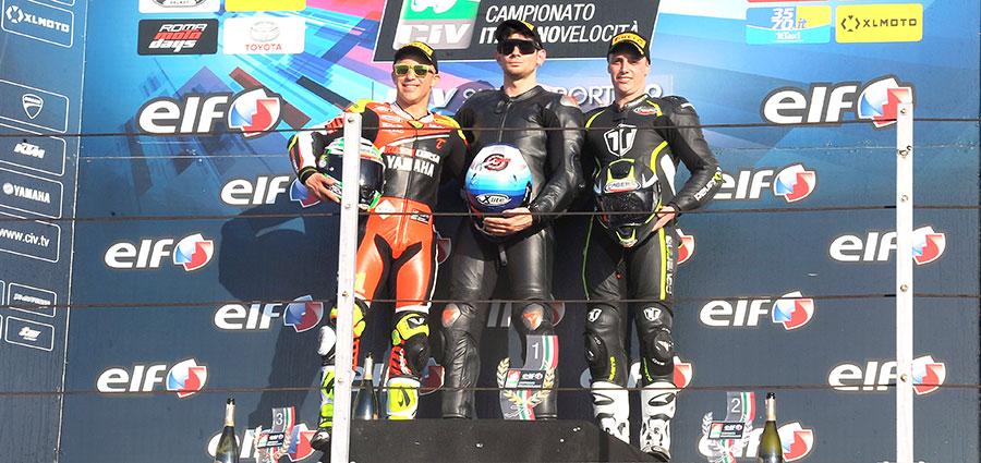 Il podio della Supersport 600 (Foto Giovanni Vanacore)