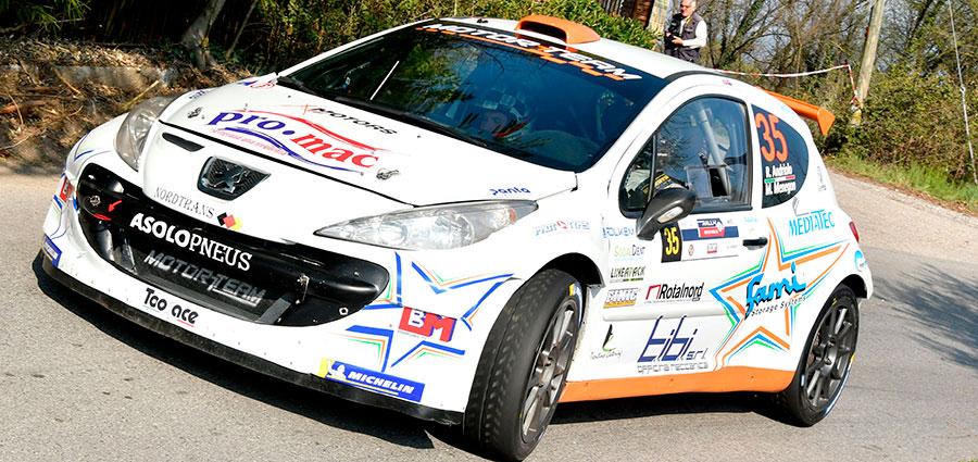 Rudy Andriolo e Manuel Menegon vincitori di classe e dodicesimi assoluti con la Peugeot 207 Super 2000