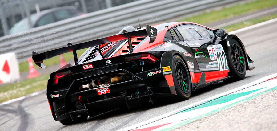Luca De Marchi, Giampiero Cristoni e Mattia Michelotto con la Lamborghini Huracan della Antonelli Motorsport si aggiudicano la vetta della GT Light