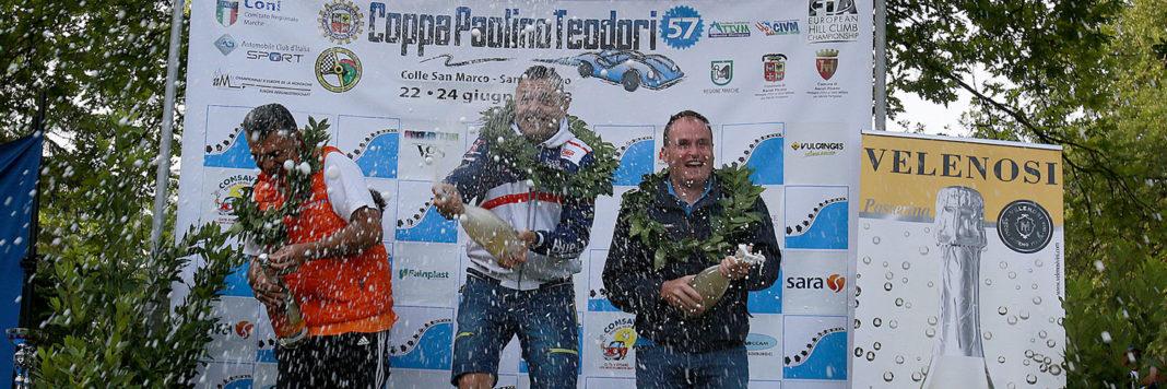 Il podio della Coppa Paolino Teodori con Christian Merli, Domenico Cubeda e Omar Magliona (Foto Claudio Ricciotti)