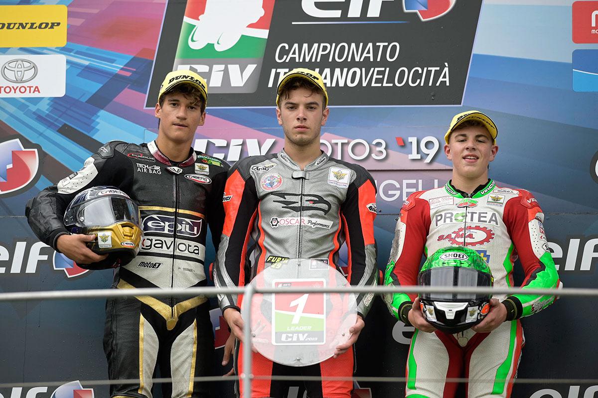 Podio Moto3 con Nicholas Spinelli, Raffaele Fusco e Alberto Surra