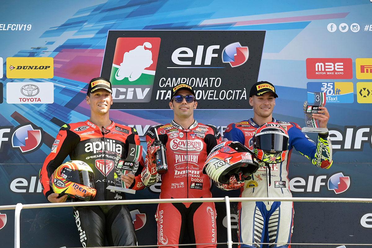 Il podio della SBK nel quinto round ELF CIV al Mugello