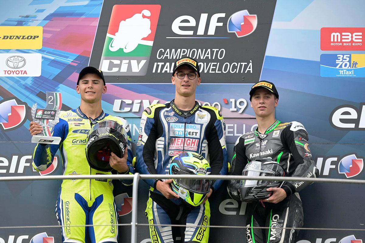 Podio della SS300 con Matteo Bertè, Emanuele Vocino e Thomas Brianti