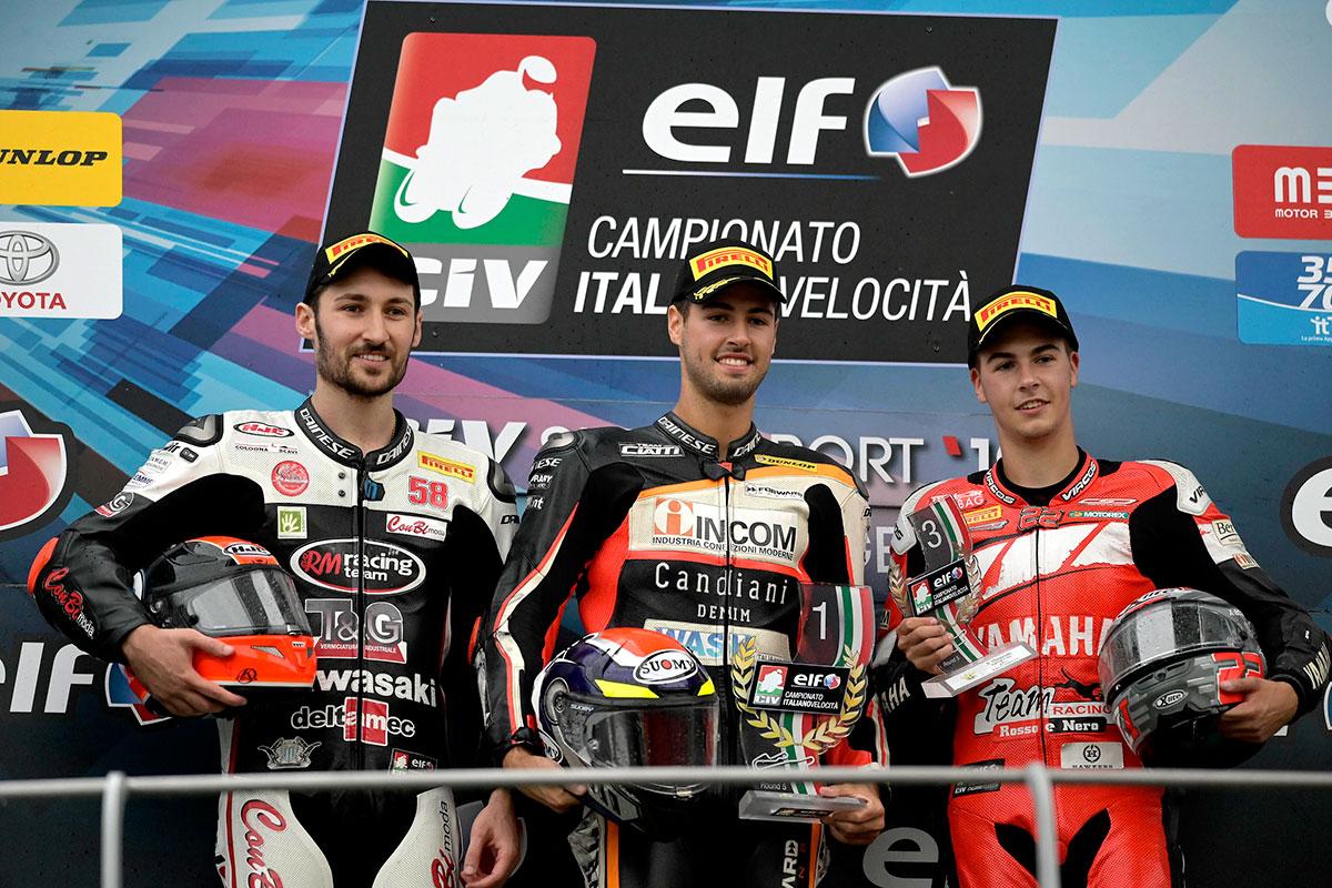 Podio della SS600 con Federico Fuligni, Nicola Morrentino e Filippo Fuligni