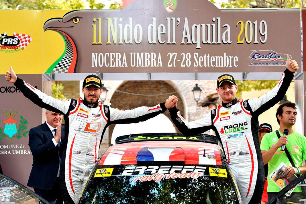Stephane Consani e Thibaut De La Haye con la Skoda Fabia R5, vincendo il Rally Nido dell'Aquila, conquistano il titolo CIRT 2019