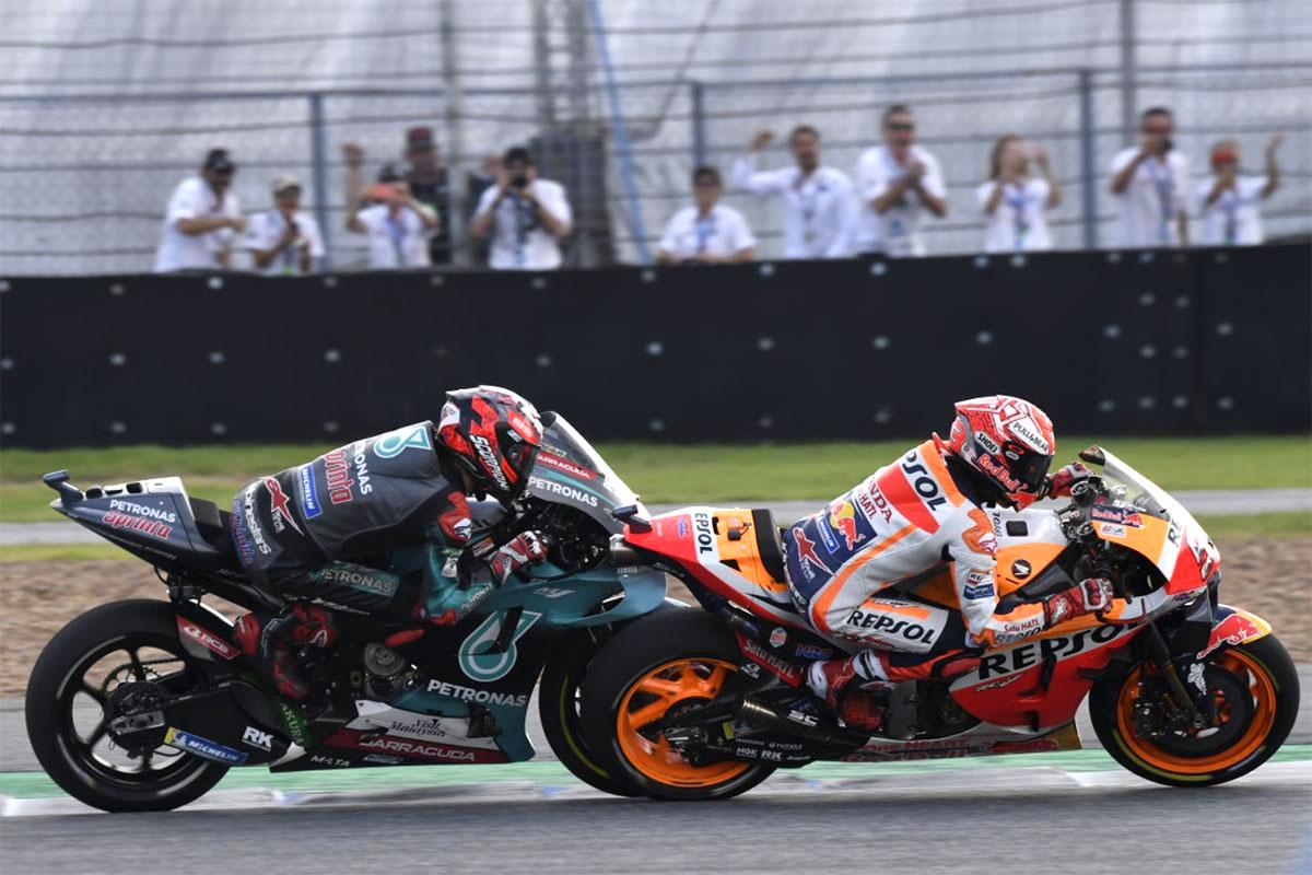 Fabio Quartararo tiene dietro l'agguerrito Marquez fino a un giro dalla fine ma non riesce nel miracolo di conquistare la vittoria