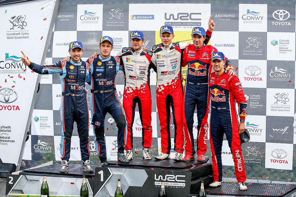 Il podio del Wales Rally valido quale terz'ultima prova del WRC
