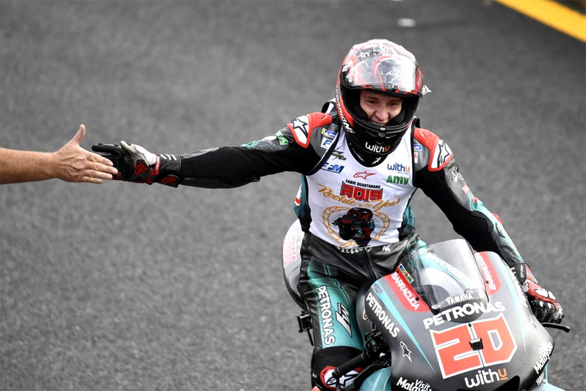 Non smette di stupire Fabio Quartararo con la Yamaha Petronas SRT, secondo a Motegi e miglior Rookie della stagione
