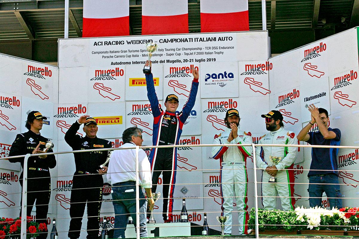 Il podio della GT Light con Mattia Michelotto Campione della categoria
