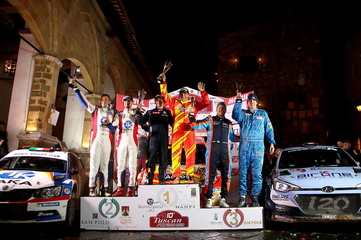 Il podio del CIRT Campionato Italiano Rally Terra al Tuscan Rewind