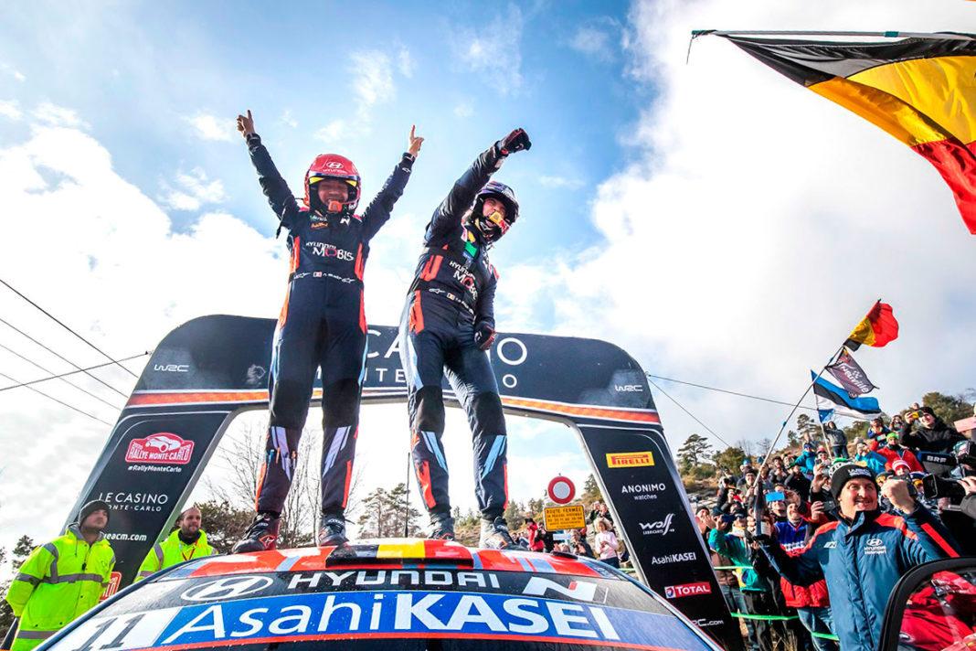 Thierry Neuville e Nicolas Gilsoul con la Hyundai i20 WRC si aggiudicano la prima tappa del WRC, il Rally di Monte-Carlo