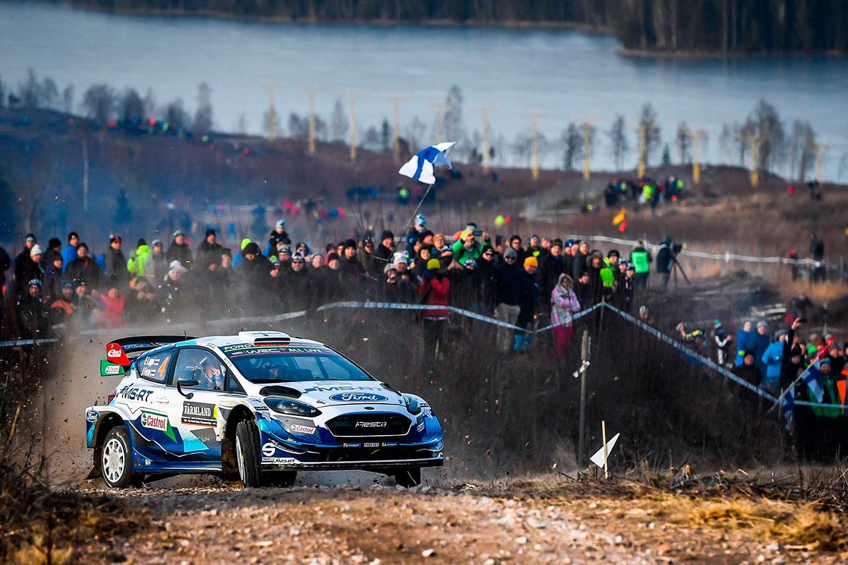 La prima delle Ford Fiesta schierate al Rally di Svezia è quella di Esa-Pekka Lappi, quinto in classifica finale