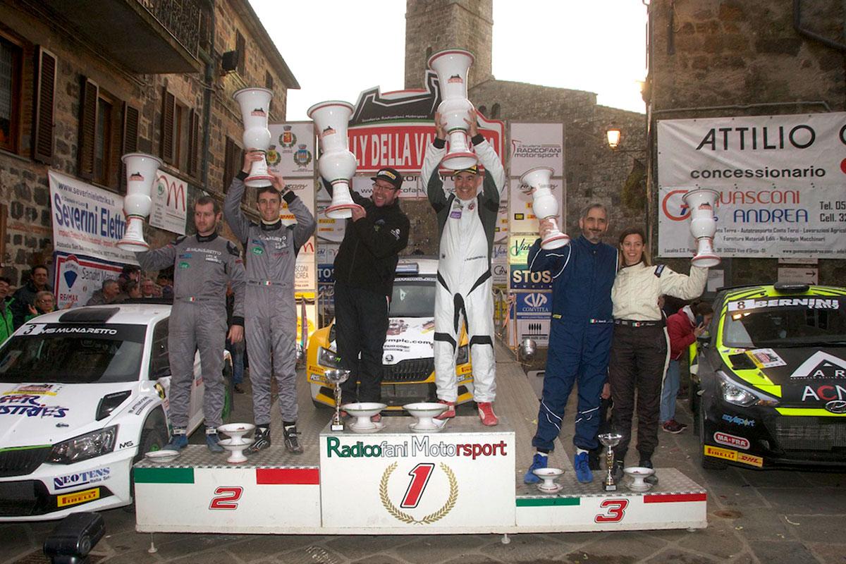 Il podio dell'assoluta al Rally Val d'Orcia, penultima tappa del Raceday Rally Terra