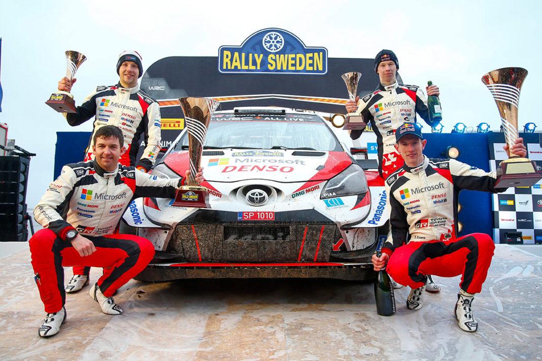 Poteva essere tripletta Toyota al Rally di Svezia, seconda tappa del WRC, se non si fosse inserita la Hyundai Hyundai i20 Coupé WRC di Ott Tanak ad occupare la piazza d'onore