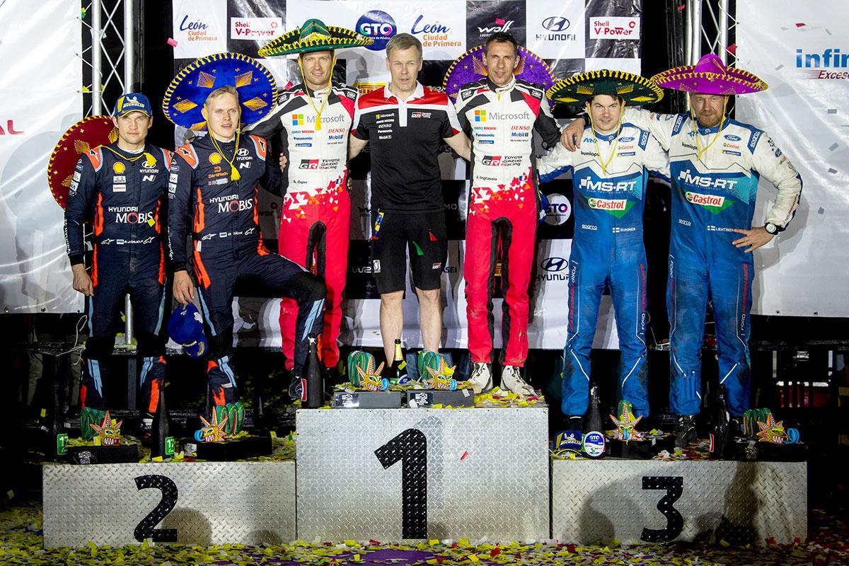 Il podio del Rally del Messico con Sebastien Ogier, Ott Tanak e Teemu Suninen