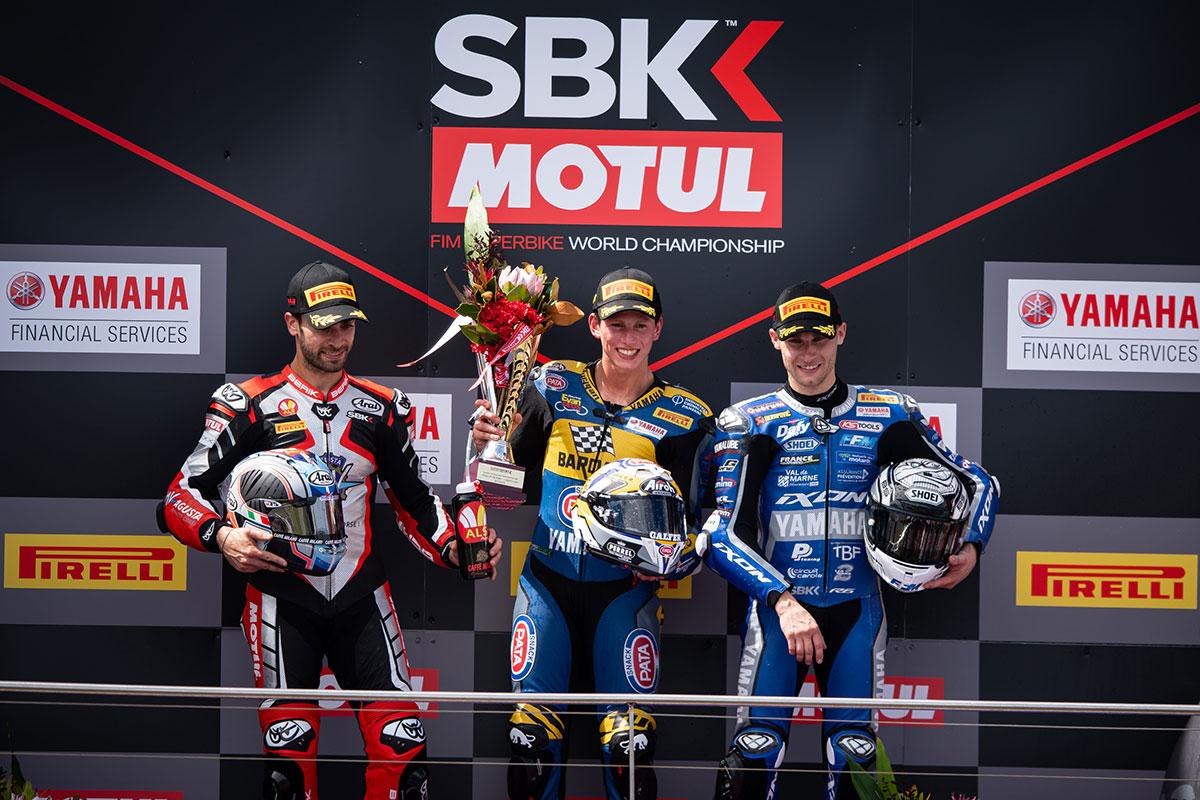 Il podio della prima di Campionato WSSP con Andrea Locatelli, Raffaele De Rosa e Jules Cluzel