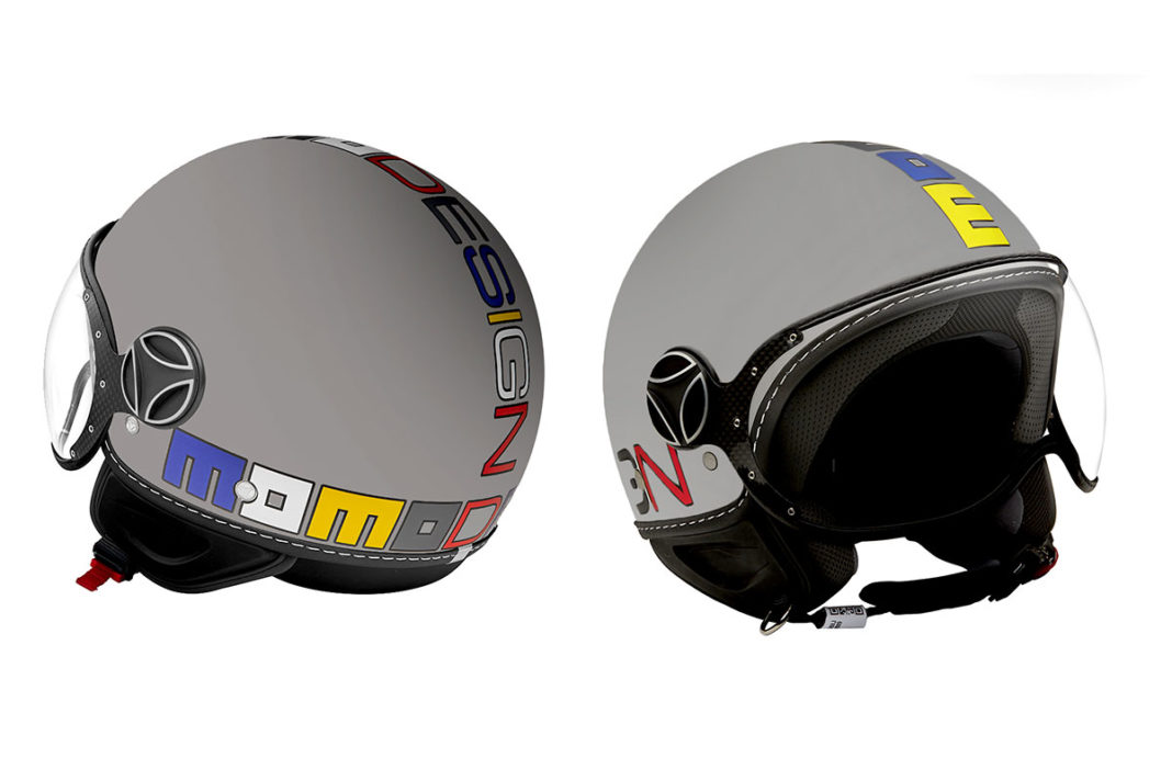 Il casco Momo Design nella versione FGTR Multicolor mette in mostra il logo multicolore